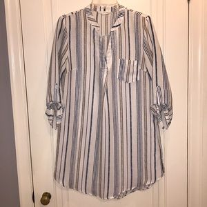 Blue/cream stripped oversized shirt dress